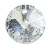 Rivoli 2 Hole Silver Foiled 14mm Sew on Clear Crystal Sew on Stone Pack 6
